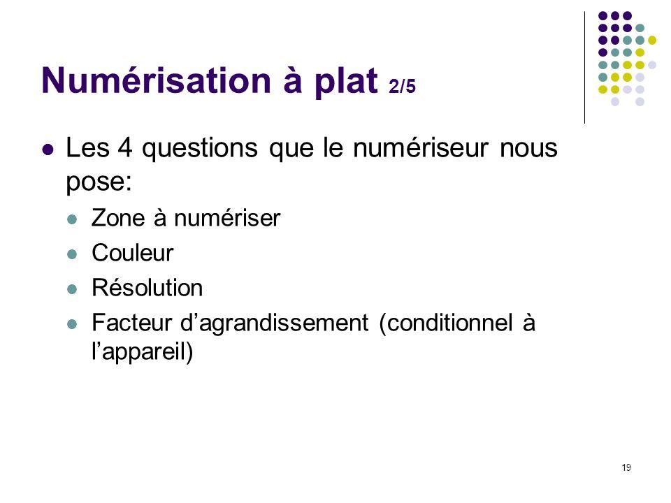 19 Les 4 questions que le numériseur nous pose: Zone à numériser Couleur Résolution Facteur dagrandissement (conditionnel à lappareil) Numérisation à