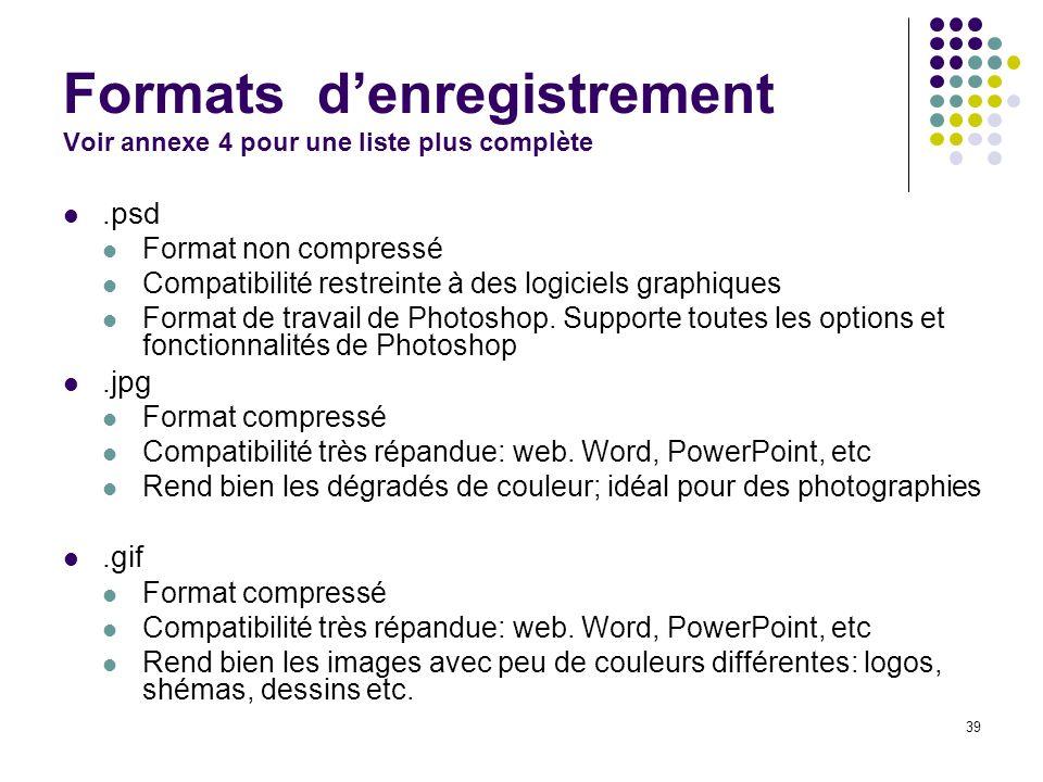 39 Formats denregistrement Voir annexe 4 pour une liste plus complète.psd Format non compressé Compatibilité restreinte à des logiciels graphiques For