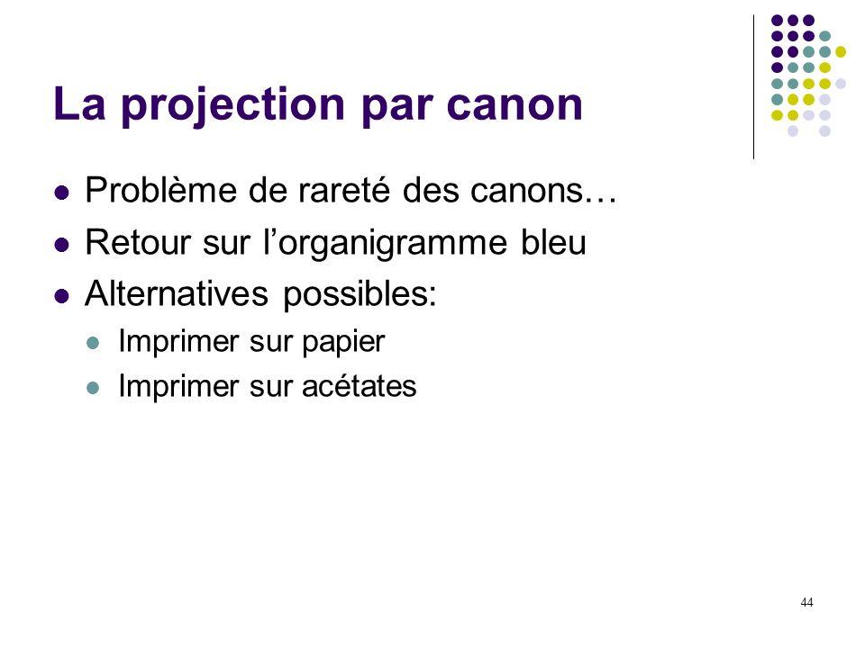 44 La projection par canon Problème de rareté des canons… Retour sur lorganigramme bleu Alternatives possibles: Imprimer sur papier Imprimer sur acéta