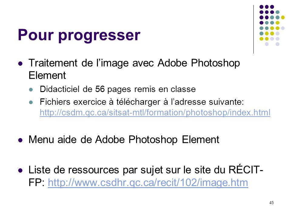 45 Pour progresser Traitement de limage avec Adobe Photoshop Element Didacticiel de 56 pages remis en classe Fichiers exercice à télécharger à ladress