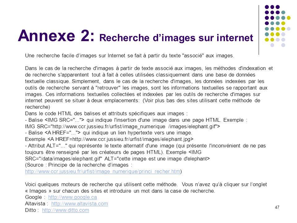 47 Annexe 2: Recherche dimages sur internet Une recherche facile dimages sur Internet se fait à partir du texte