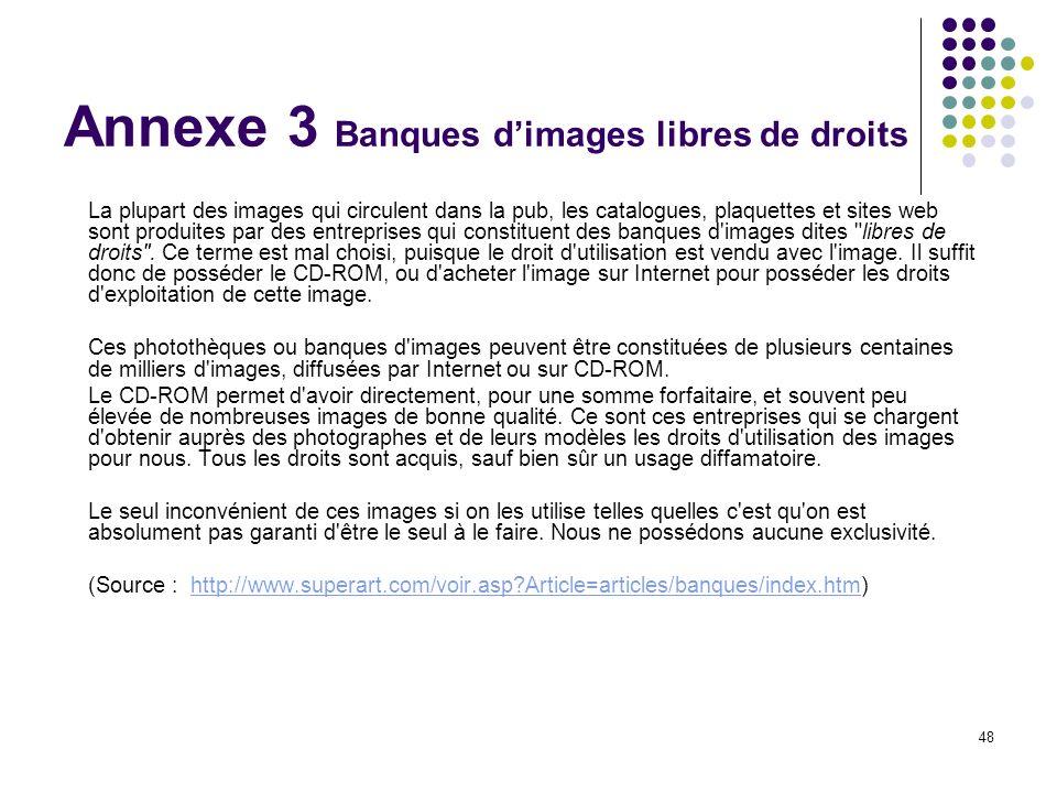 48 Annexe 3 Banques dimages libres de droits La plupart des images qui circulent dans la pub, les catalogues, plaquettes et sites web sont produites p