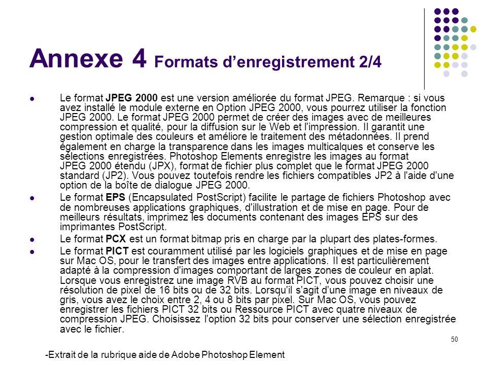 50 Le format JPEG 2000 est une version améliorée du format JPEG. Remarque : si vous avez installé le module externe en Option JPEG 2000, vous pourrez