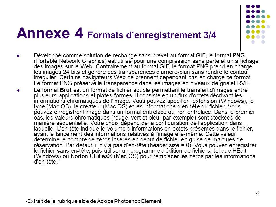 51 Développé comme solution de rechange sans brevet au format GIF, le format PNG (Portable Network Graphics) est utilisé pour une compression sans per