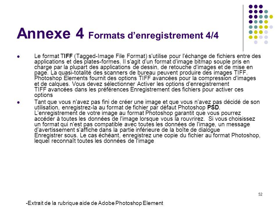 52 Le format TIFF (Tagged-Image File Format) s'utilise pour l'échange de fichiers entre des applications et des plates-formes. Il s'agit d'un format d