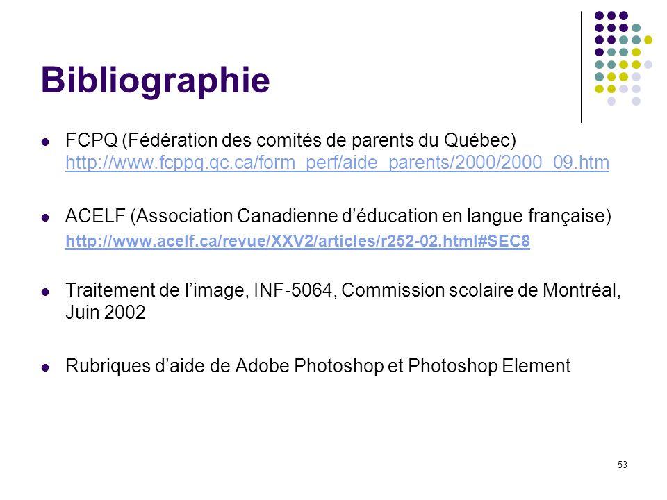 53 Bibliographie FCPQ (Fédération des comités de parents du Québec) http://www.fcppq.qc.ca/form_perf/aide_parents/2000/2000_09.htm http://www.fcppq.qc