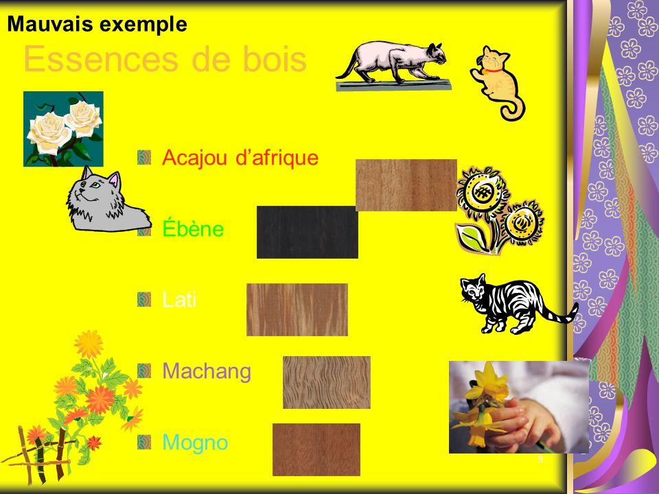 9 Essences de bois Acajou dafrique Ébène Lati Machang Mogno Mauvais exemple