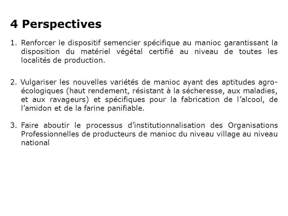 4 Perspectives 1.Renforcer le dispositif semencier spécifique au manioc garantissant la disposition du matériel végétal certifié au niveau de toutes l