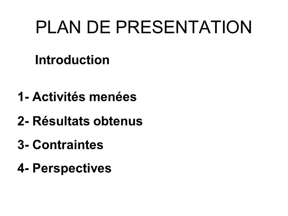 PLAN DE PRESENTATION Introduction 1- Activités menées 2- Résultats obtenus 3- Contraintes 4- Perspectives