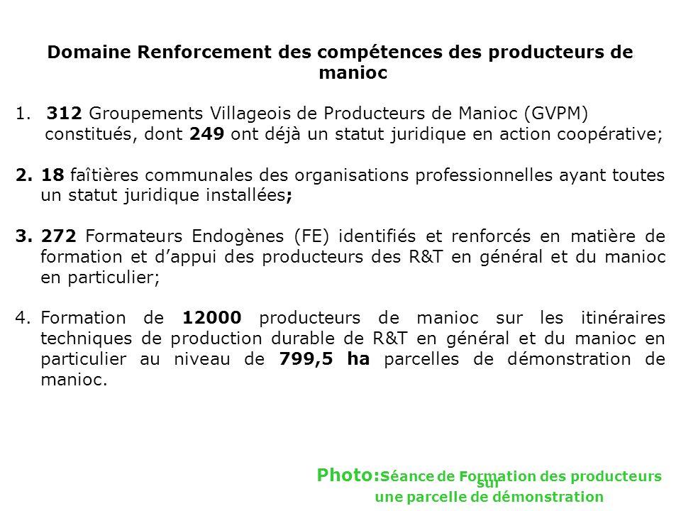 Domaine Renforcement des compétences des producteurs de manioc 1. 312 Groupements Villageois de Producteurs de Manioc (GVPM) constitués, dont 249 ont