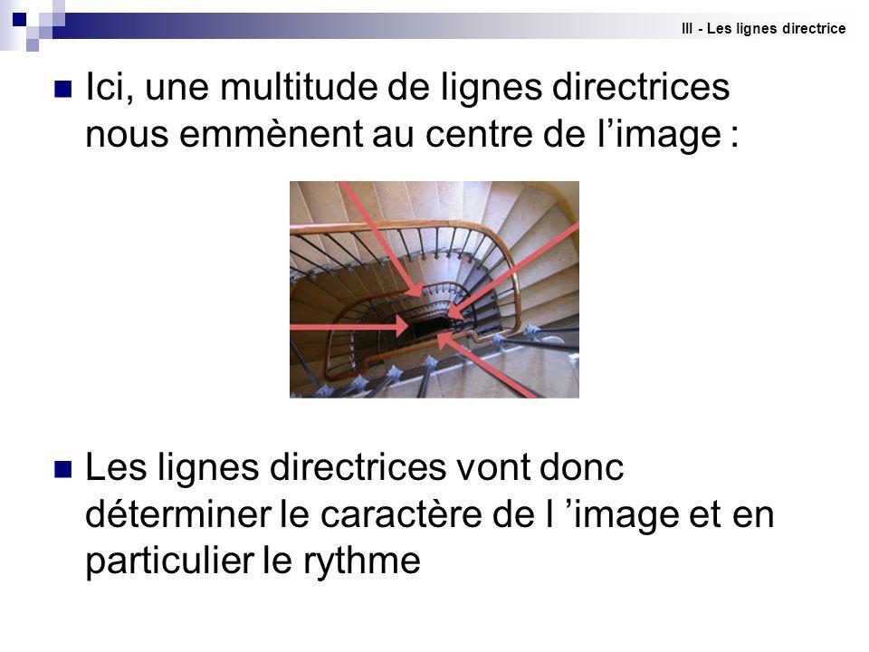 III - Les lignes directrice Ici, une multitude de lignes directrices nous emmènent au centre de limage : Les lignes directrices vont donc déterminer l