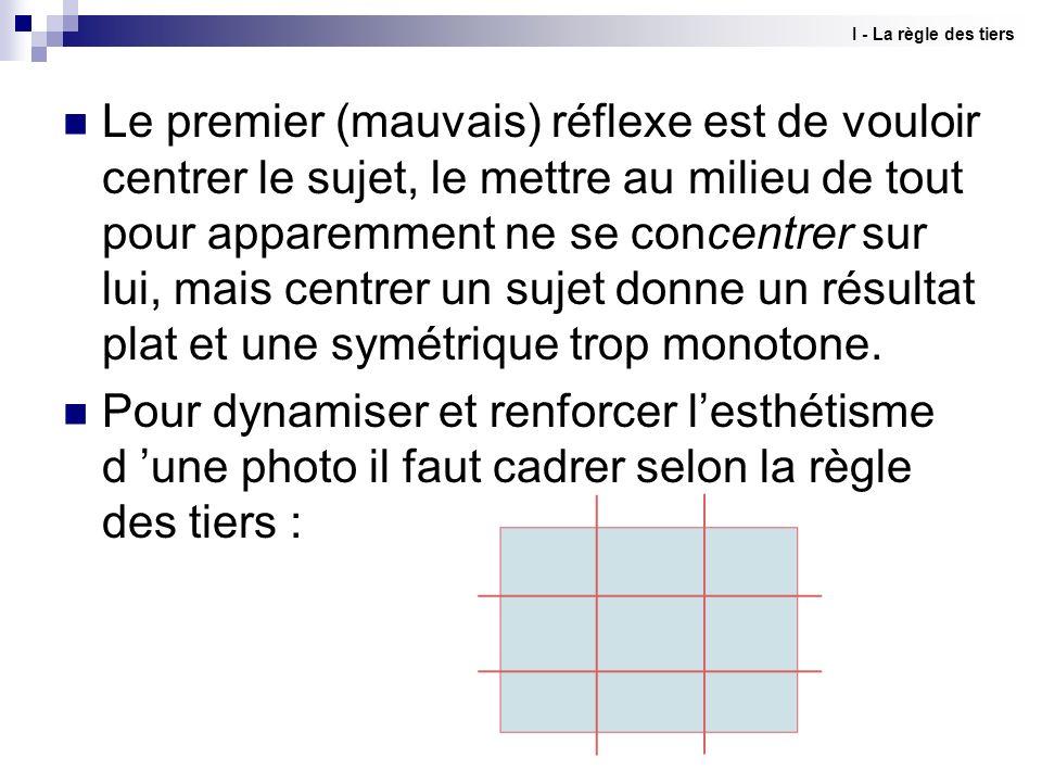 Ne pas centrer la photo Mettre en valeur un élément ou plusieurs I - La règle des tiers