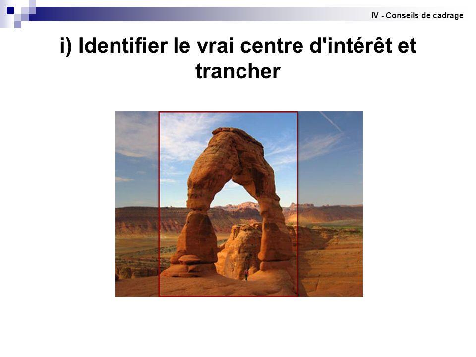 i) Identifier le vrai centre d'intérêt et trancher IV - Conseils de cadrage