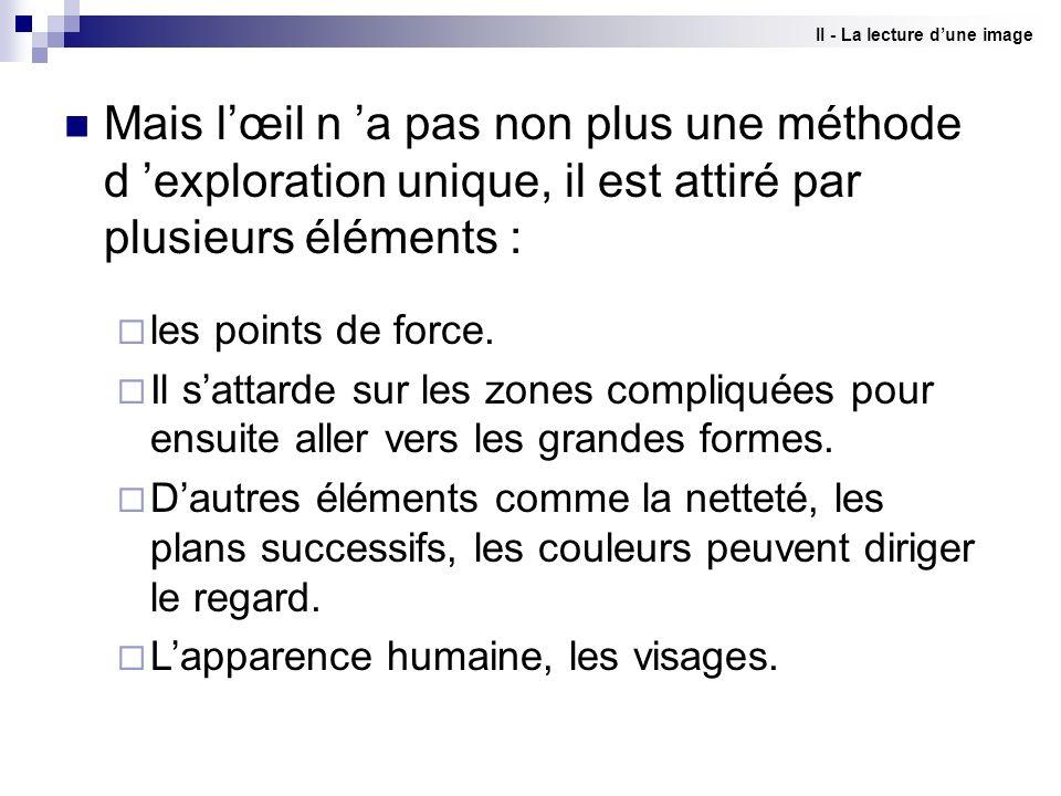 II - La lecture dune image Mais lœil n a pas non plus une méthode d exploration unique, il est attiré par plusieurs éléments : les points de force. Il
