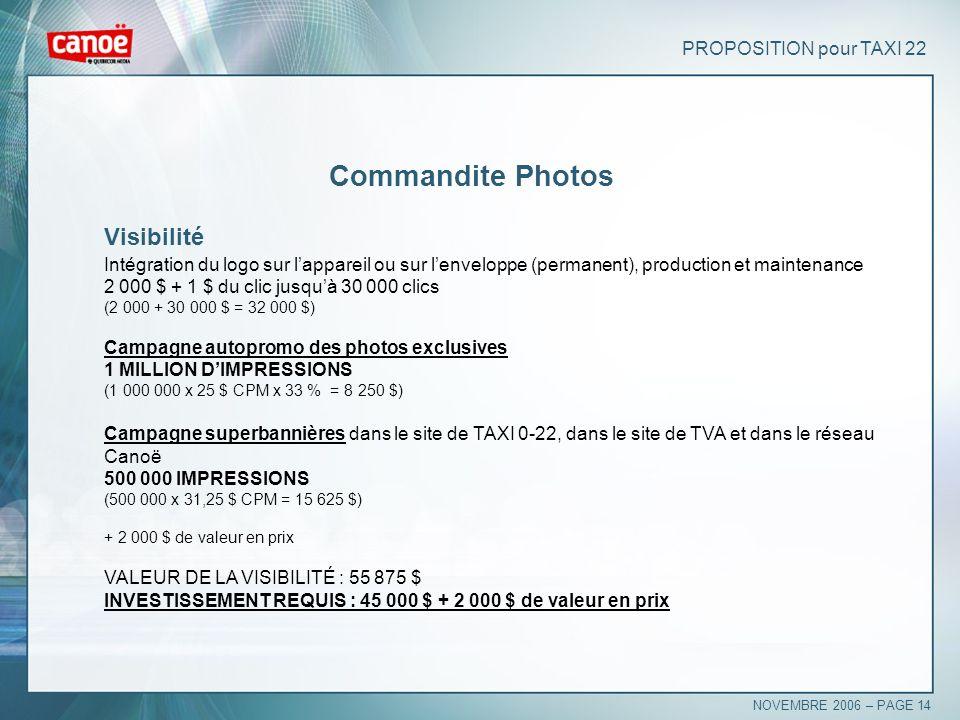PROPOSITION pour TAXI 22 Commandite Photos Visibilité Intégration du logo sur lappareil ou sur lenveloppe (permanent), production et maintenance 2 000