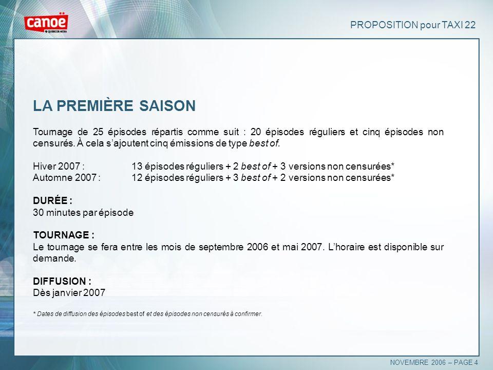 PROPOSITION pour TAXI 22 LA PREMIÈRE SAISON Tournage de 25 épisodes répartis comme suit : 20 épisodes réguliers et cinq épisodes non censurés. À cela