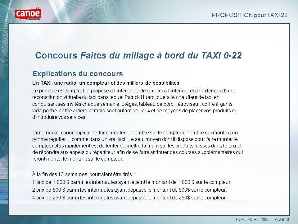 PROPOSITION pour TAXI 22 Concours Faites du millage à bord du TAXI 0-22 Explications du concours Un TAXI, une radio, un compteur et des milliers de po