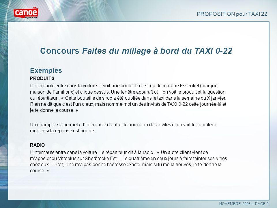 PROPOSITION pour TAXI 22 Concours Faites du millage à bord du TAXI 0-22 Exemples PRODUITS Linternaute entre dans la voiture. Il voit une bouteille de