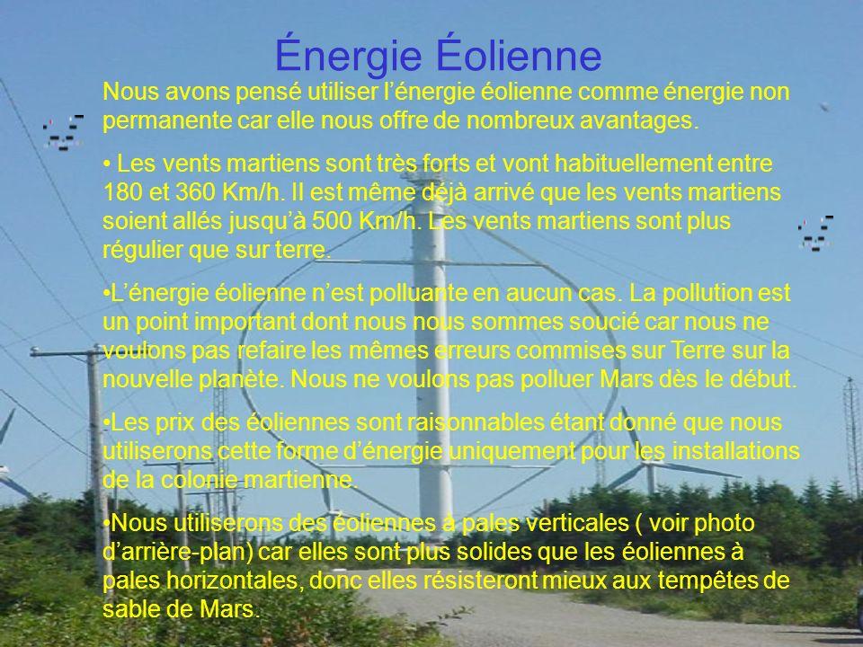 Énergie Éolienne Nous avons pensé utiliser lénergie éolienne comme énergie non permanente car elle nous offre de nombreux avantages. Les vents martien
