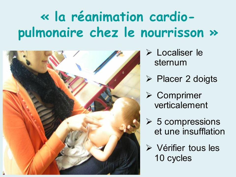 « la réanimation cardio- pulmonaire chez le nourrisson » Localiser le sternum Placer 2 doigts Comprimer verticalement 5 compressions et une insufflation Vérifier tous les 10 cycles