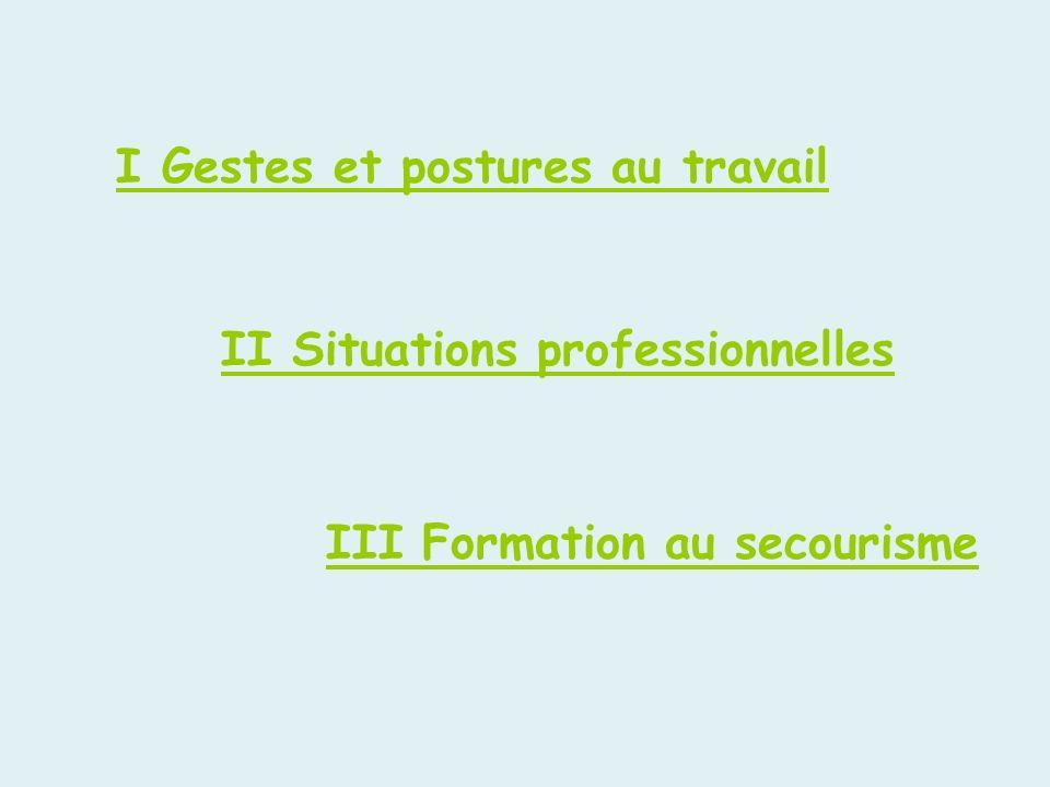 I Gestes et postures au travail II Situations professionnelles III Formation au secourisme