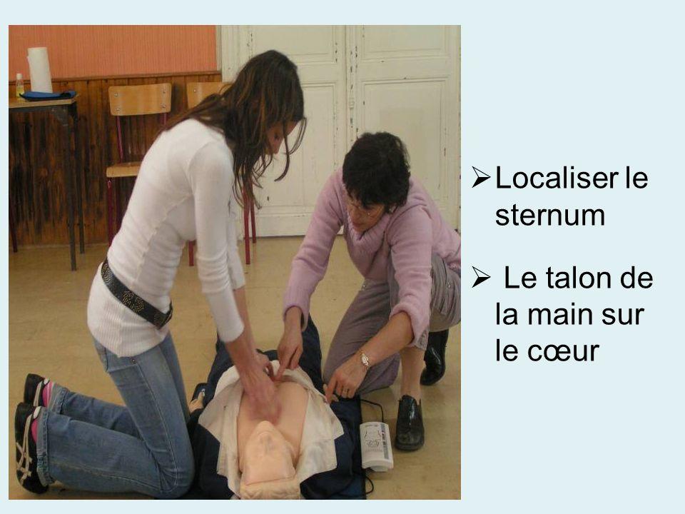 Localiser le sternum Le talon de la main sur le cœur
