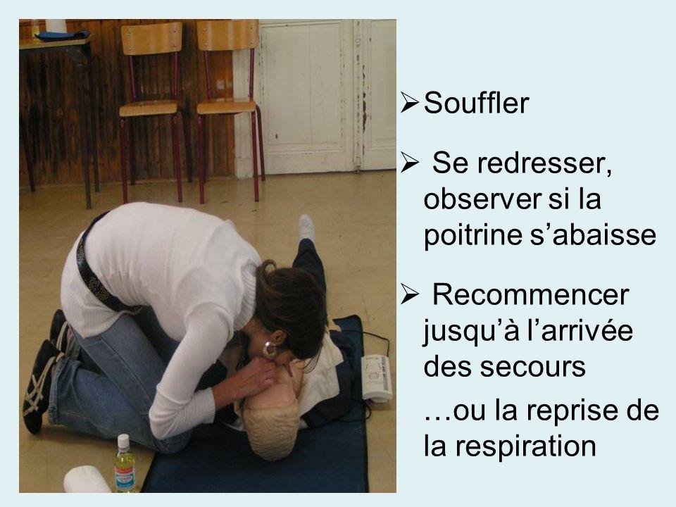 Souffler Se redresser, observer si la poitrine sabaisse Recommencer jusquà larrivée des secours …ou la reprise de la respiration