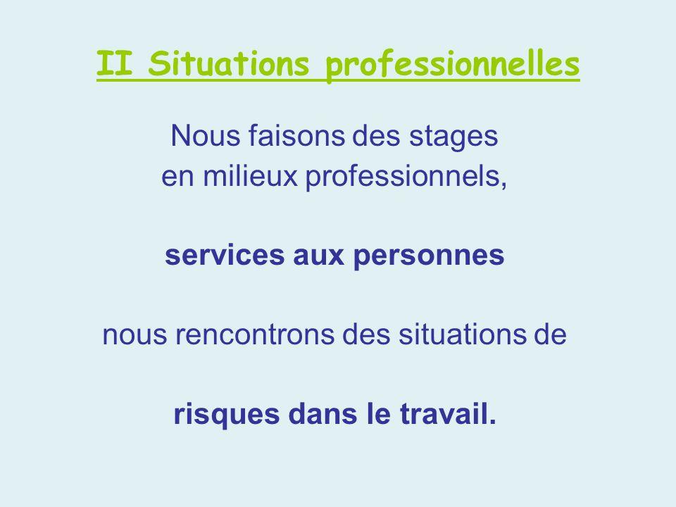 II Situations professionnelles Nous faisons des stages en milieux professionnels, services aux personnes nous rencontrons des situations de risques dans le travail.