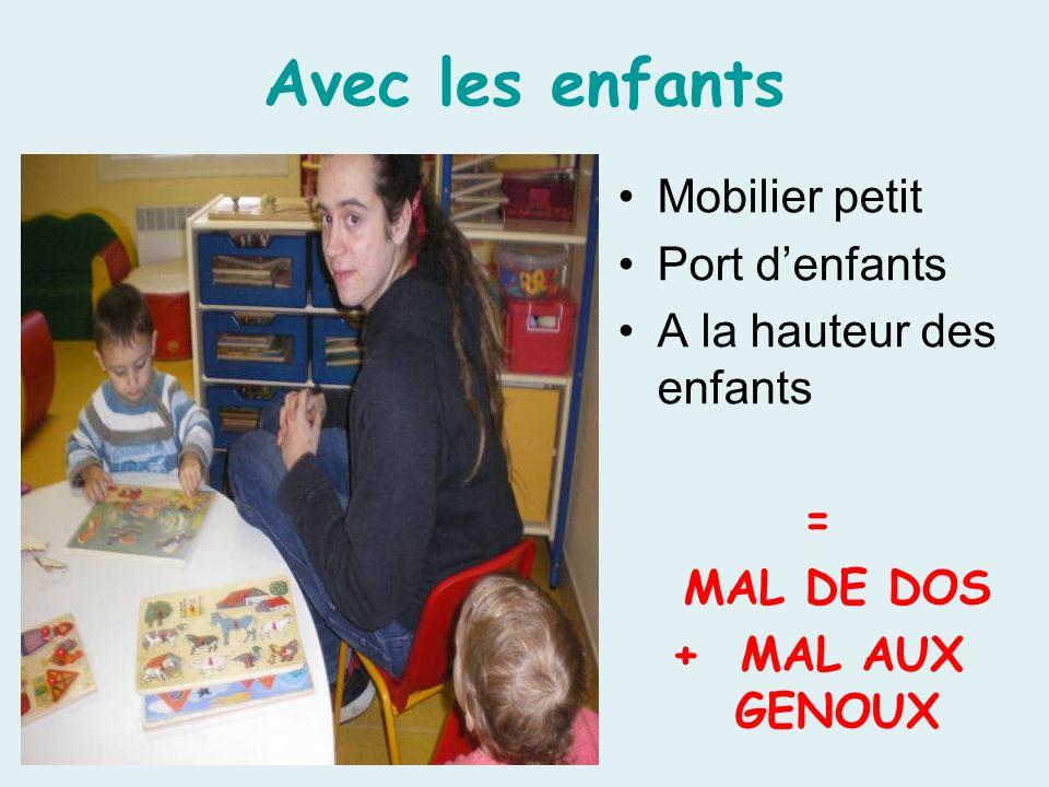 Avec les enfants Mobilier petit Port denfants A la hauteur des enfants = MAL DE DOS + MAL AUX GENOUX