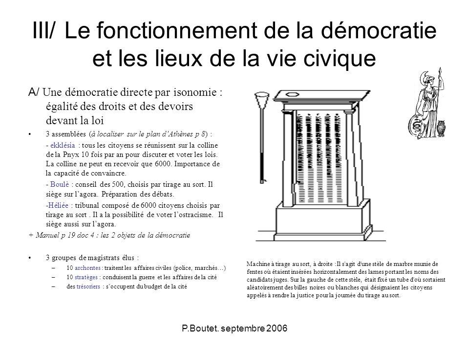 P.Boutet. septembre 2006 III/ Le fonctionnement de la démocratie et les lieux de la vie civique A/ Une démocratie directe par isonomie : égalité des d