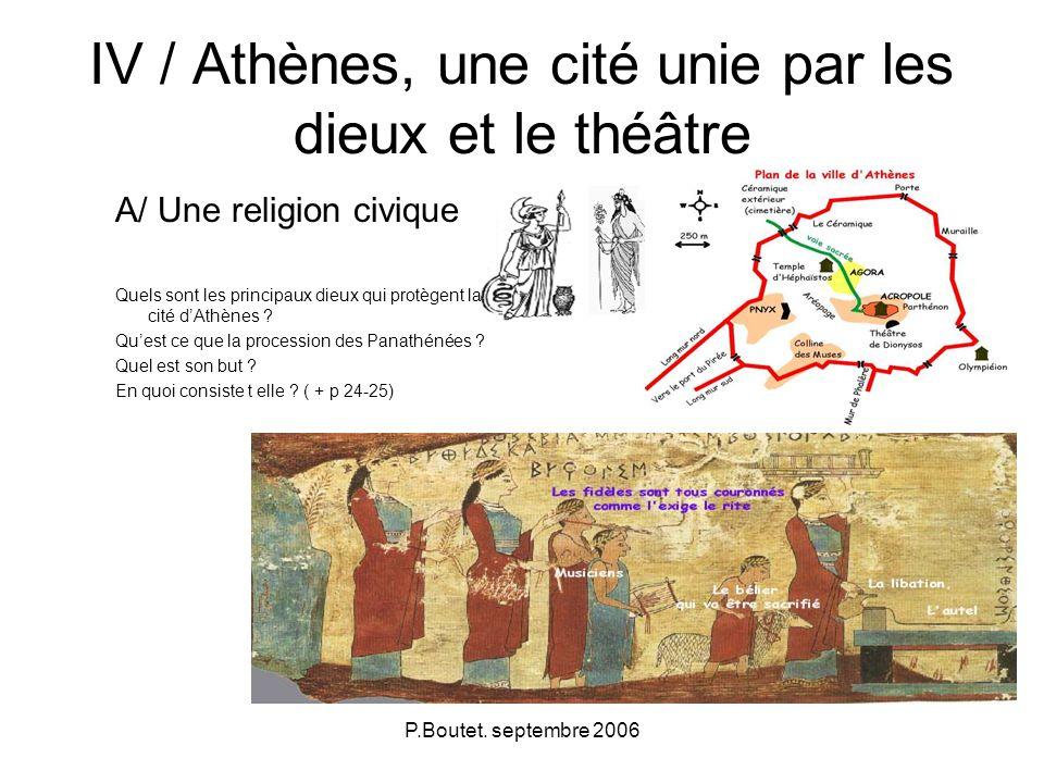 P.Boutet. septembre 2006 IV / Athènes, une cité unie par les dieux et le théâtre A/ Une religion civique Quels sont les principaux dieux qui protègent