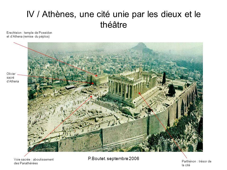 P.Boutet. septembre 2006 IV / Athènes, une cité unie par les dieux et le théâtre Parthénon : trésor de la cité Voie sacrée : aboutissement des Panathé