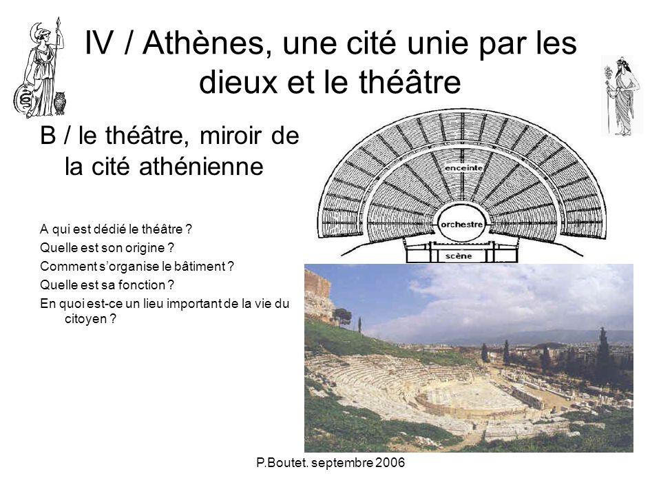 P.Boutet. septembre 2006 IV / Athènes, une cité unie par les dieux et le théâtre B / le théâtre, miroir de la cité athénienne A qui est dédié le théât