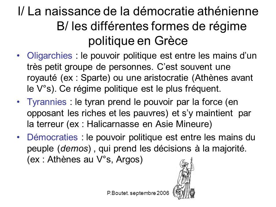 P.Boutet. septembre 2006 I/ La naissance de la démocratie athénienne B/ les différentes formes de régime politique en Grèce Oligarchies : le pouvoir p