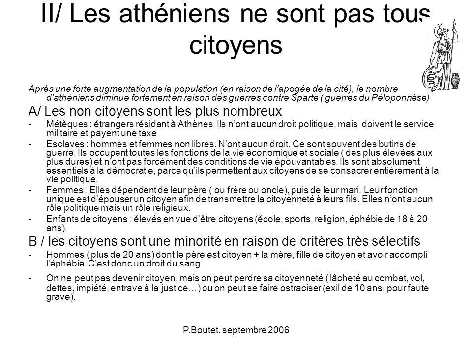P.Boutet. septembre 2006 II/ Les athéniens ne sont pas tous citoyens Après une forte augmentation de la population (en raison de lapogée de la cité),