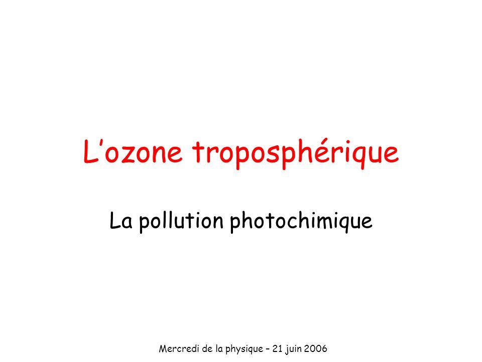 Mercredi de la physique – 21 juin 2006 Lozone troposphérique La pollution photochimique