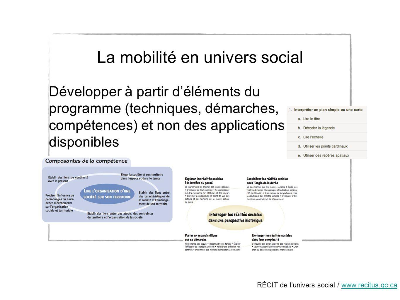 RÉCIT de lunivers social / www.recitus.qc.cawww.recitus.qc.ca La mobilité en univers social Développer à partir déléments du programme (techniques, démarches, compétences) et non des applications disponibles