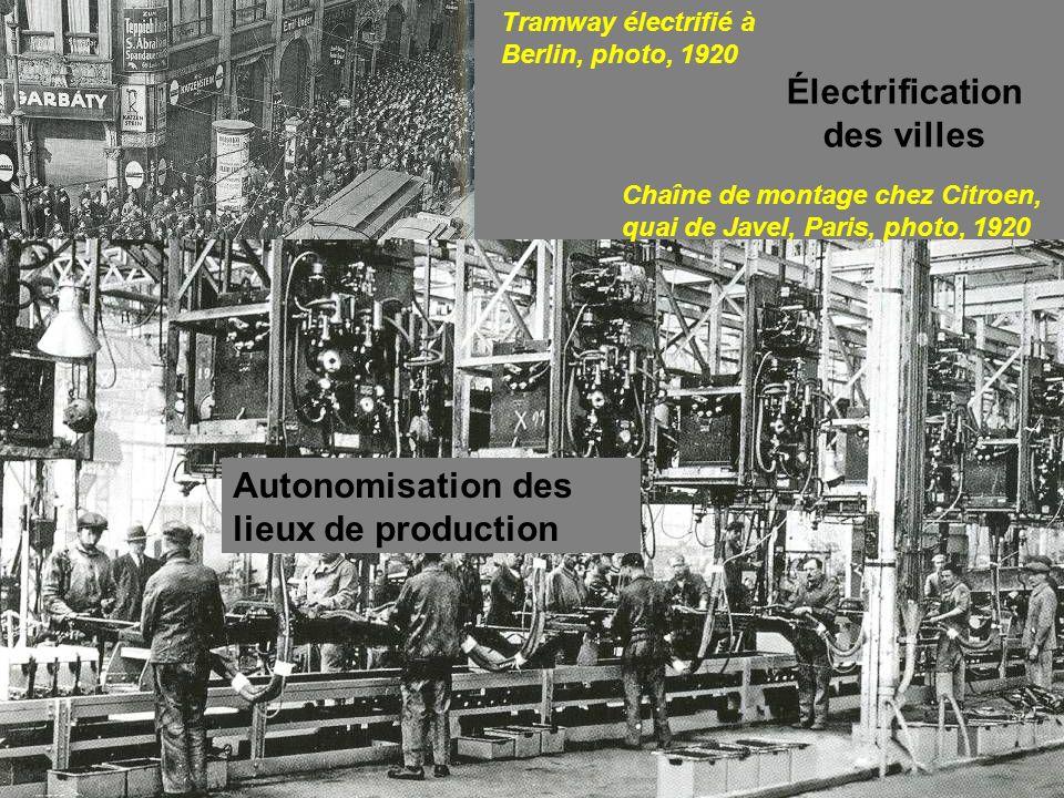 A1 Tramway électrifié à Berlin, photo, 1920 Électrification des villes Chaîne de montage chez Citroen, quai de Javel, Paris, photo, 1920 Autonomisatio