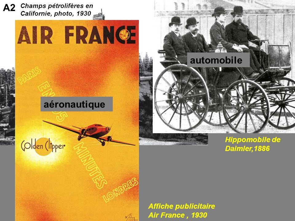Hippomobile de Daimler,1886 A2 Champs pétrolifères en Californie, photo, 1930 automobile aéronautique Affiche publicitaire Air France, 1930