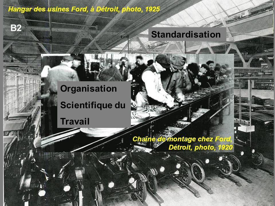 Hangar des usines Ford, à Détroit, photo, 1925 Chaîne de montage chez Ford, Détroit, photo, 1920 B2 Standardisation Organisation Scientifique du Trava