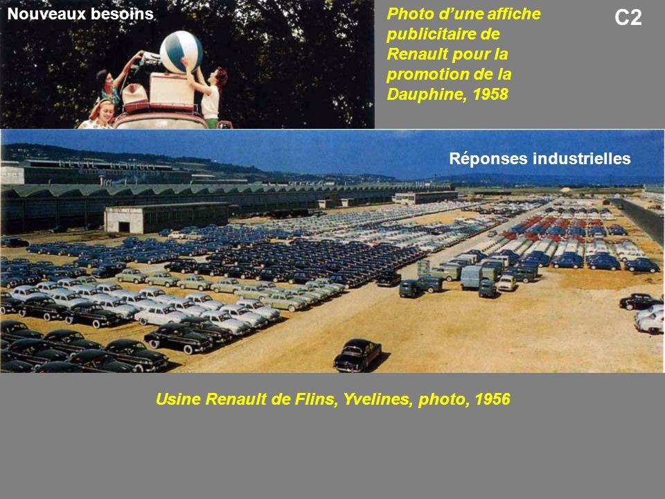 C2 Photo dune affiche publicitaire de Renault pour la promotion de la Dauphine, 1958 Usine Renault de Flins, Yvelines, photo, 1956 Nouveaux besoins Ré