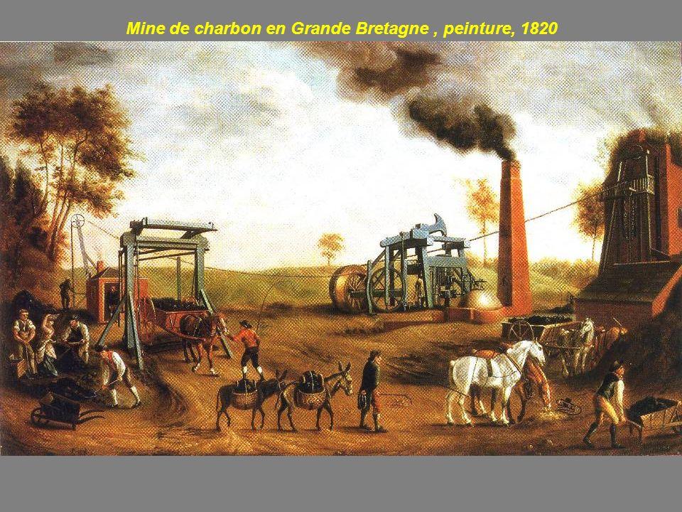 Battage avec une machine à vapeur en Grande-Bretagne, gravure, 1851