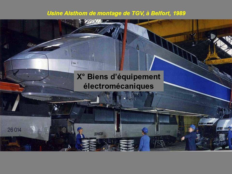 X° Biens déquipement électromécaniques Usine Alsthom de montage de TGV, à Belfort, 1989