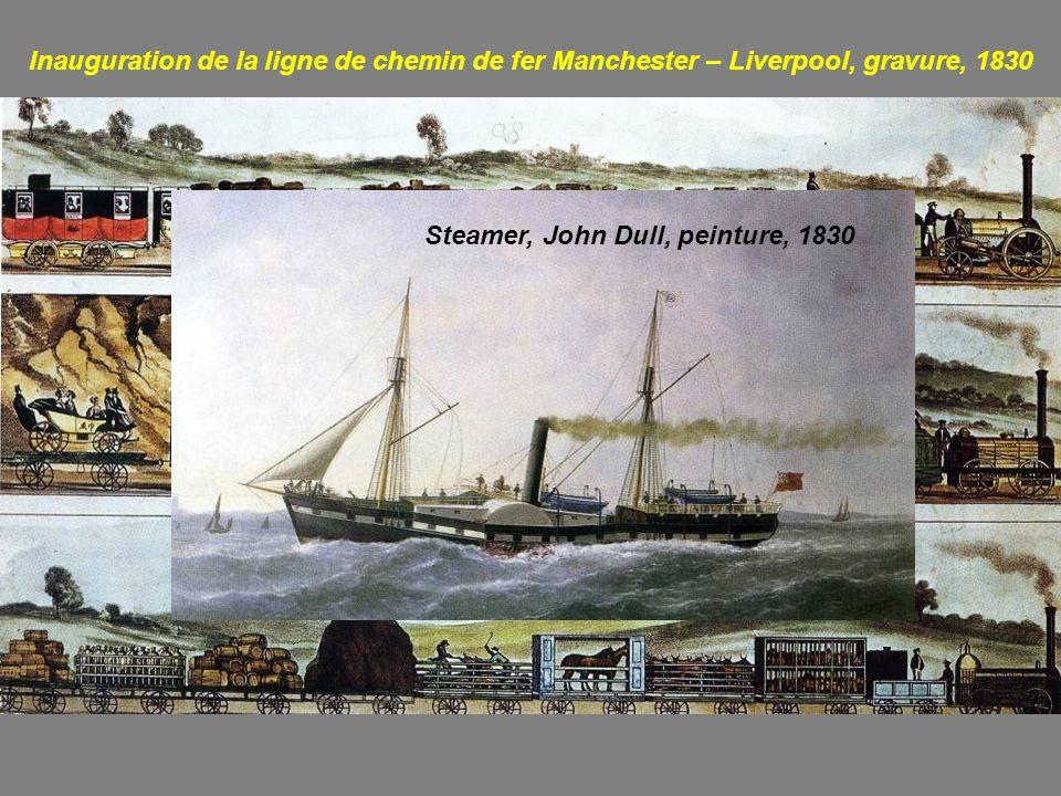 Inauguration de la ligne de chemin de fer Manchester – Liverpool, gravure, 1830 Steamer, John Dull, peinture, 1830