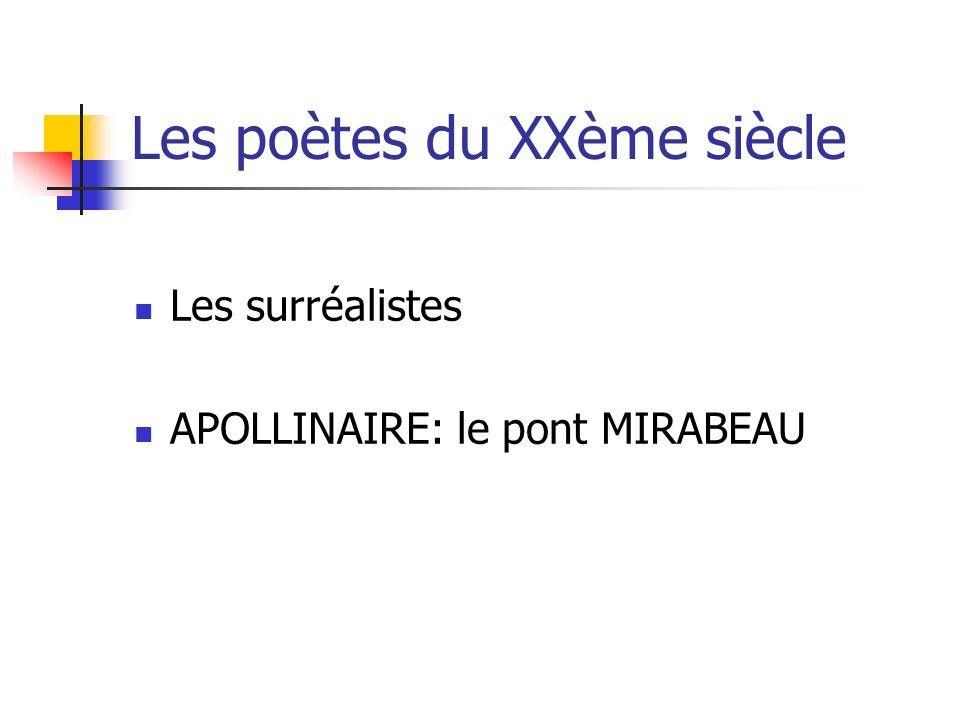 Les poètes du XXème siècle Les surréalistes APOLLINAIRE: le pont MIRABEAU