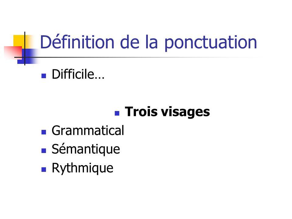 Définition de la ponctuation Difficile… Trois visages Grammatical Sémantique Rythmique