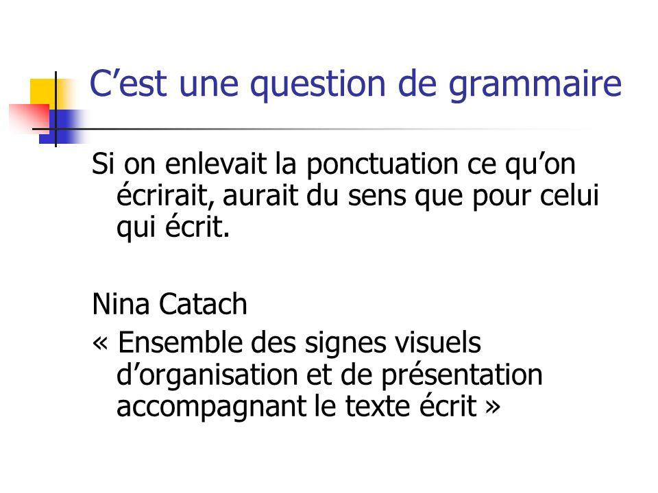 Cest une question de grammaire Si on enlevait la ponctuation ce quon écrirait, aurait du sens que pour celui qui écrit.