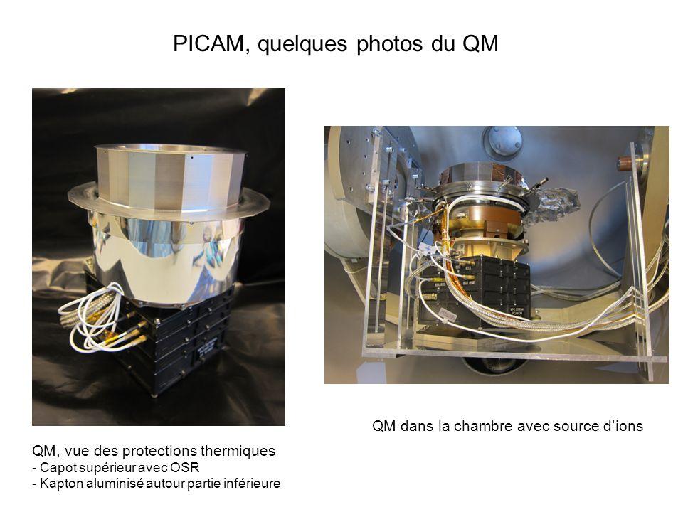 PICAM, quelques photos du QM QM, vue des protections thermiques - Capot supérieur avec OSR - Kapton aluminisé autour partie inférieure QM dans la cham