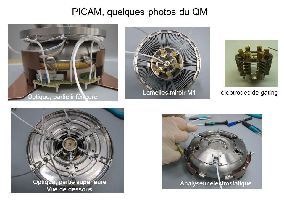 PICAM, quelques photos du QM Optique, partie inférieure Analyseur électrostatique Lamelles miroir M1 électrodes de gating Optique, partie supérieure V
