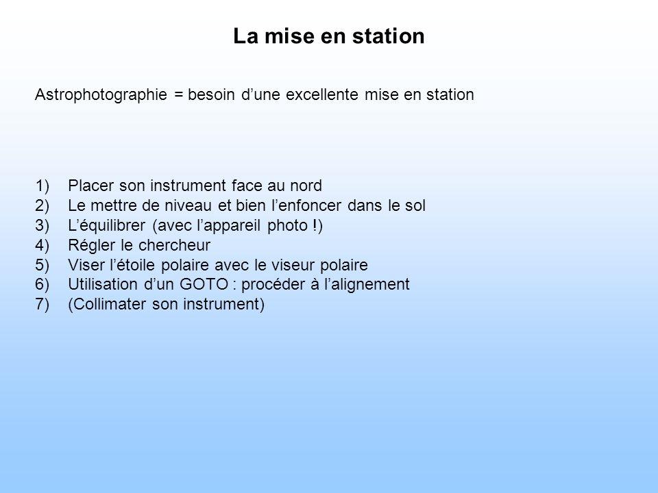 La mise en station Astrophotographie = besoin dune excellente mise en station 1)Placer son instrument face au nord 2)Le mettre de niveau et bien lenfoncer dans le sol 3)Léquilibrer (avec lappareil photo !) 4)Régler le chercheur 5)Viser létoile polaire avec le viseur polaire 6)Utilisation dun GOTO : procéder à lalignement 7)(Collimater son instrument)